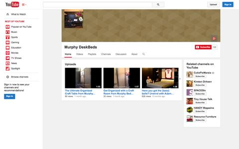Screenshot of YouTube Page youtube.com - Murphy DeskBeds  - YouTube - captured Oct. 26, 2014