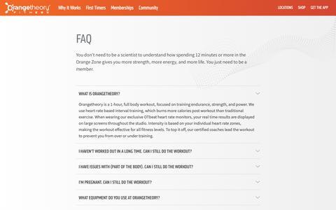 Screenshot of FAQ Page orangetheoryfitness.com - FAQ - Frequently Asked Questions | Orangetheory Fitness - captured Oct. 12, 2018