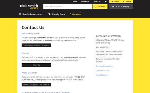 Screenshot of Contact Page dicksmith.com.au - Contact Us | Dick Smith - captured June 13, 2016