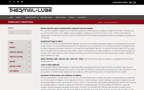 Screenshot of Terms Page thermal-lube.com - Terms and Conditions - THERMAL-LUBE - captured Oct. 7, 2014