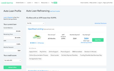 Auto Loan Refinancing | Credit Karma | Credit Karma