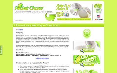 Screenshot of About Page pocketchaser.com - Pocket Chaser - Liquor Chaser & Flavor Enhancer - Dissolving Chaser Strips - Lime, Orange & Lemon Flavors - captured Oct. 27, 2014