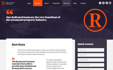 Screenshot of Services Page restaurant-property.co.uk - Services | Restaurant Property - captured Sept. 21, 2018