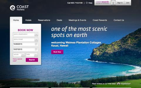 Screenshot of Home Page coasthotels.com - Hotels In Canada & The United States   Coast Hotels - captured Oct. 26, 2015