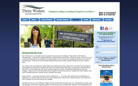 Screenshot of Services Page threewishesscholarships.com - Three Wishes Scholarships - Scholarship Services for You - captured Sept. 30, 2014