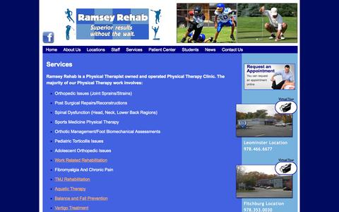 Screenshot of Services Page ramseyrehab.com - Ramsey Rehabilitation Inc. Services | Ramsey Rehabilitation Inc. - captured Oct. 26, 2014
