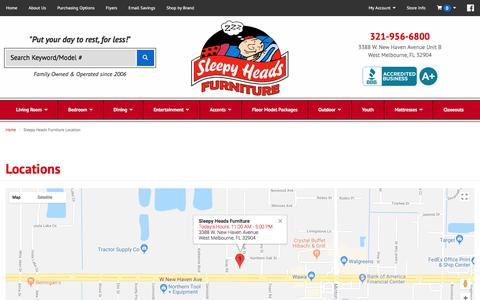 Screenshot of Contact Page Locations Page sleepyheadsinc.com - Furniture, Mattresses, Bedding Accessories in West Melbourne, Melbourne and Palm Bay FL | Sleepy Heads Furniture - captured July 9, 2018