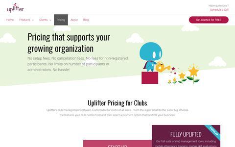 Screenshot of Pricing Page uplifterinc.com - Pricing | Affordable Membership Management Software | Uplifter - captured Nov. 7, 2018