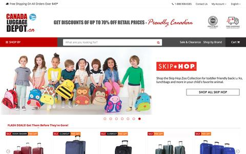 Screenshot of Home Page canadaluggagedepot.ca - Canada Luggage Depot│Luggage - Backpacks - Bags at Discounted Prices - captured Sept. 24, 2018