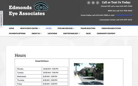 Screenshot of Hours Page edmondsgroup.com - Edmonds Eye Associates - Optometry In Drexel Hill, PA USA :: Hours - captured Feb. 24, 2018
