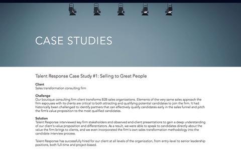 Screenshot of Case Studies Page talentresponse.com - Talent Response Case Studies - captured July 10, 2018