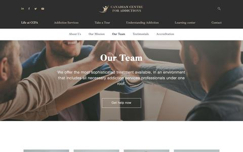 Screenshot of Team Page canadiancentreforaddictions.org - Our Team Archive | Canadian Centre for Addictions - captured Dec. 7, 2019