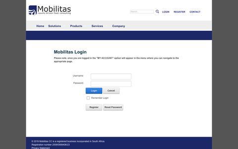 Screenshot of Login Page mobilitas.co.za - Mobilitas Login - captured Feb. 14, 2016