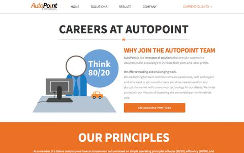 Screenshot of Jobs Page autopoint.com - AutoPoint   –  Careers - captured Oct. 4, 2014