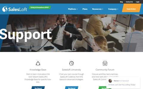 Screenshot of Support Page salesloft.com - Support – SalesLoft - captured Oct. 1, 2016