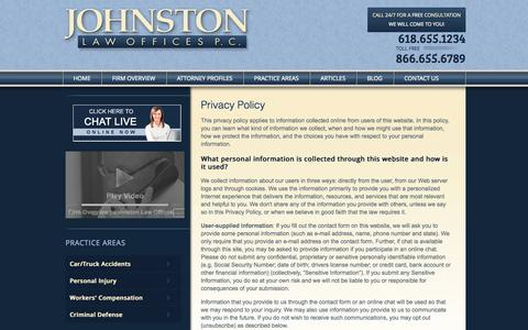 Screenshot of Privacy Page pgjlaw.com - Privacy Policy | Johnston Law Offices, P.C. | - captured Oct. 6, 2014