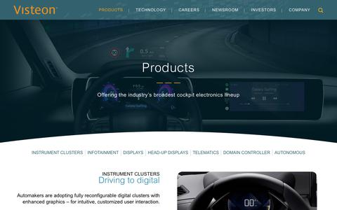 Screenshot of Products Page visteon.com - Visteon | Products - captured Feb. 17, 2019