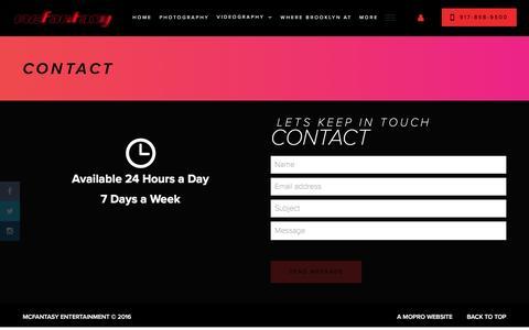 Screenshot of Contact Page mcfantasy.com - Contact - McFantasy Entertainment - captured Nov. 28, 2016