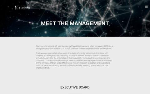 Screenshot of Team Page starmind.com - Management — Starmind - captured Sept. 21, 2018
