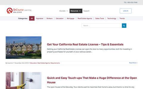 Screenshot of Blog oncourselearning.com - OnCourse Learning Real Estate Blog - - captured Nov. 14, 2019