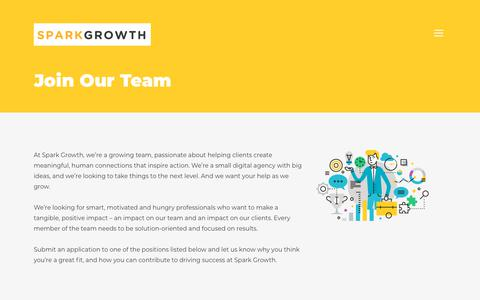 Screenshot of Jobs Page sparkgrowth.com - Join Our Team - Spark Growth - captured Nov. 19, 2018