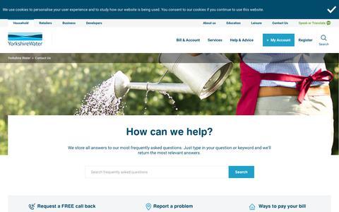 Screenshot of Contact Page yorkshirewater.com - Contact Yorkshire Water   Yorkshire Water - captured Oct. 20, 2019