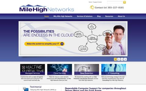 Screenshot of Home Page milehighnet.com - IT Consulting, Managed Services, Computer Support - Denver Metro and the Front Range | Mile High Networks, Inc. - captured Oct. 7, 2014
