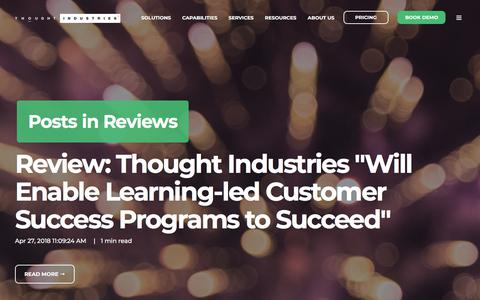 Screenshot of Testimonials Page thoughtindustries.com - News and Views   Thought Industries Learning Content, Videos and More   Reviews - captured Jan. 11, 2020