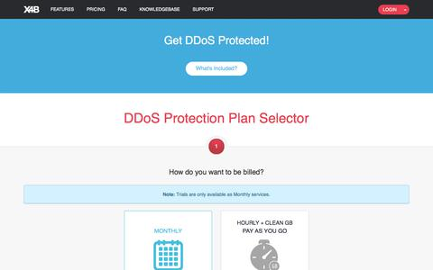 Screenshot of Trial Page x4b.net - Get DDoS Protected! :: X4B - captured July 25, 2018