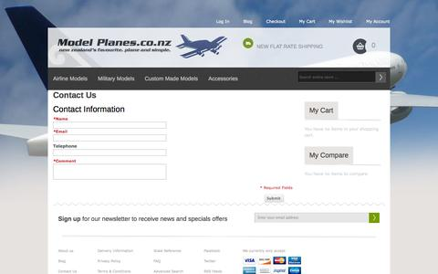 Screenshot of Contact Page modelplanes.co.nz - Model Planes.co.nz - captured Oct. 7, 2014