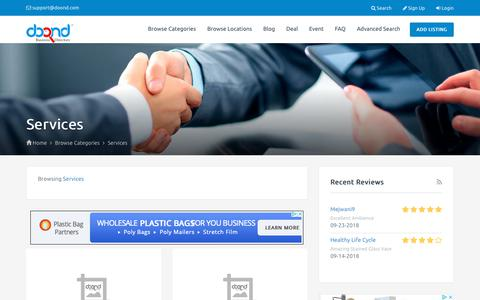 Screenshot of Services Page doond.com - Business Services - captured Sept. 29, 2018