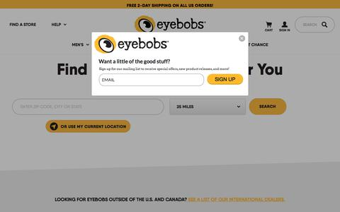 Screenshot of Locations Page eyebobs.com - Find an Eyebobs Store Near You  • eyebobs - captured July 24, 2018