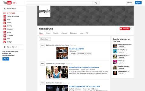 Screenshot of YouTube Page youtube.com - GarimpoChic  - YouTube - captured Oct. 22, 2014