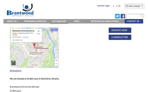 Screenshot of Maps & Directions Page brantwood.ca - Brantwood Community Services :: Directions - captured Oct. 11, 2017