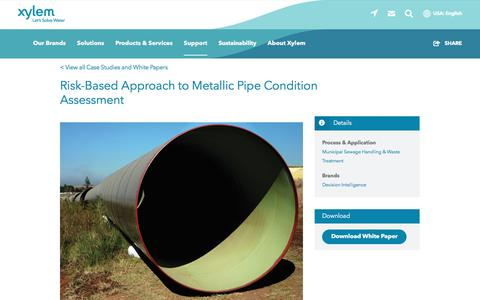 Screenshot of Case Studies Page xylem.com - Risk-Based Approach to Metallic Pipe Condition Assessment   Xylem US - captured Nov. 9, 2019