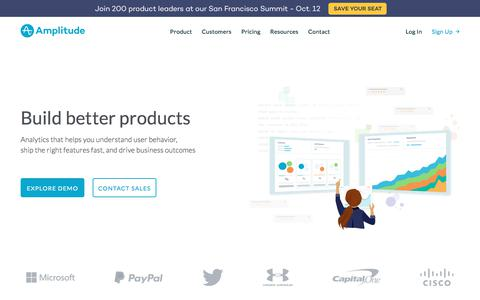 Screenshot of Home Page amplitude.com - Amplitude | Product Analytics for Web and Mobile - captured Oct. 8, 2017