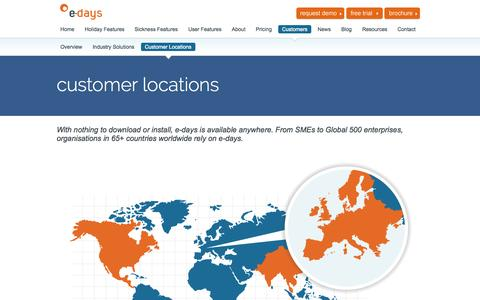 Screenshot of Locations Page e-days.co.uk - Customer Locations | e-days Online Staff Vacation Tracking Software - captured Sept. 22, 2014