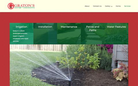 Screenshot of Services Page gratonscustomlandscapes.com - Services - Graton's Custom Landscapes - captured July 23, 2018