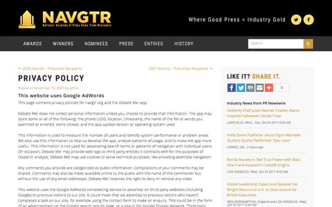 Screenshot of Privacy Page navgtr.org - Privacy Policy   National Academy of Video Game Trade Reviewers Corporation - captured Oct. 26, 2017
