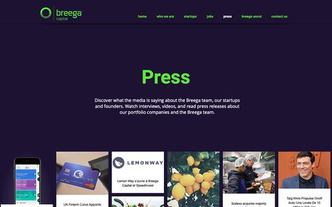 Screenshot of Press Page breega.com - In the news | Breega Capital | Press - captured Oct. 6, 2018