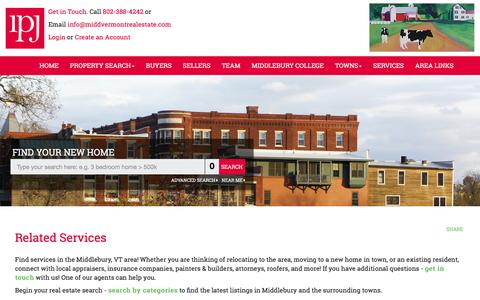 Screenshot of Services Page middvermontrealestate.com - Middlebury Vermont Real Estate, Ingrid Punderson Jackson, Related Services - captured Feb. 17, 2016