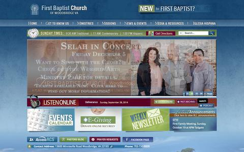 Screenshot of Home Page fbcwoodbridge.org - Home - First Baptist Church of Woodbridge VA - captured Oct. 6, 2014