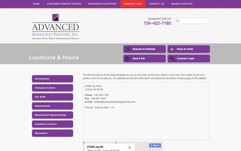 Screenshot of Locations Page advancedmarketingpartners.com - Advanced Marketing Partners, Inc. : Company Info : Locations & Hours - captured Dec. 23, 2015
