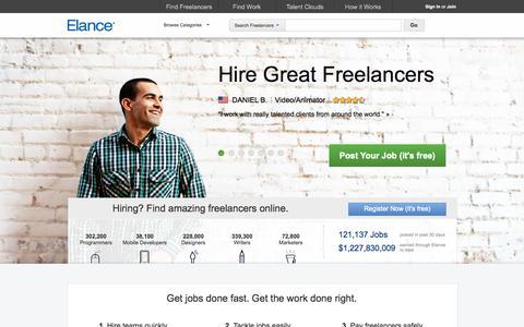 Screenshot of Home Page elance.com - Hire freelancers and find freelance jobs instantly | Elance - captured Oct. 10, 2014