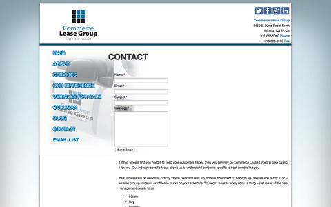 Screenshot of Contact Page commerceleasegroup.com - Contact Commerce Lease Group: Commercial Vehicle Fleet Leasing - captured Oct. 28, 2014