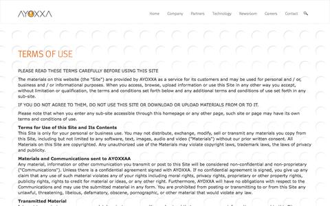 Screenshot of Terms Page ayoxxa.com - Terms of Use - captured Oct. 4, 2014