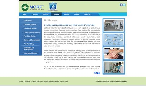 Screenshot of Services Page morfindia.com - Water Treatment Services Chennai, Water Softener Services - Morf India - captured Oct. 1, 2014