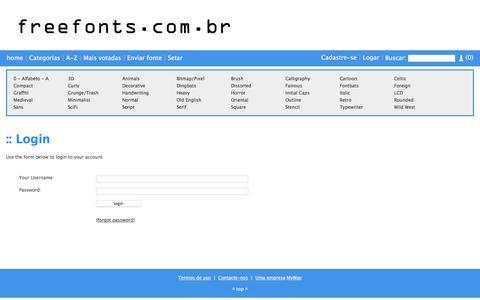 Screenshot of Login Page freefonts.com.br - Login - freefonts.com.br - captured July 5, 2018