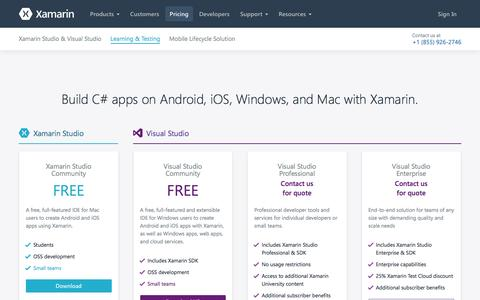 Screenshot of Pricing Page xamarin.com - Store - Xamarin - captured April 19, 2017