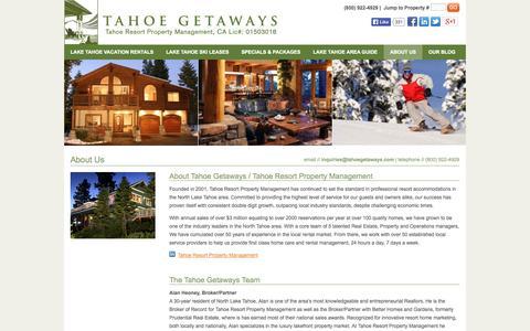 Screenshot of About Page tahoegetaways.com - Tahoe Getaways - Tahoe Resort Property Management - captured Oct. 27, 2014